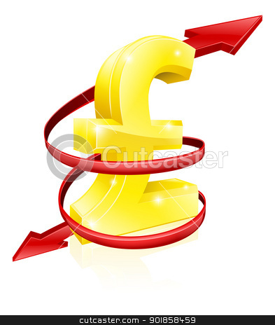 Pound exchange rate concept stock vector clipart, Pound exchange rate concept or concept for changing income or profits  by Christos Georghiou