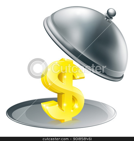 Dollar on silver platter concept stock vector clipart, A Dollar sign on silver platter. Conceptual illustration for money making opportunity or perhaps to do with expensive dinning by Christos Georghiou