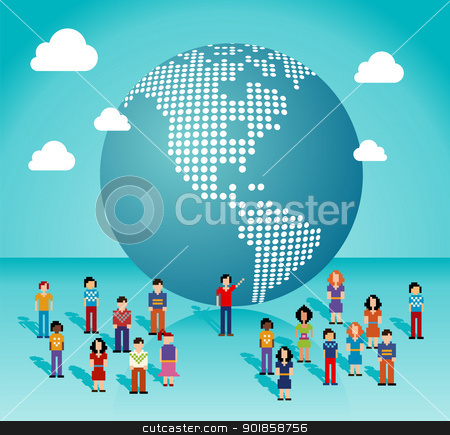 Global social media network in The Americas stock vector clipart, Global social media people network connection from The Americas map. Vector illustration layered for easy manipulation and custom coloring. by Cienpies Design