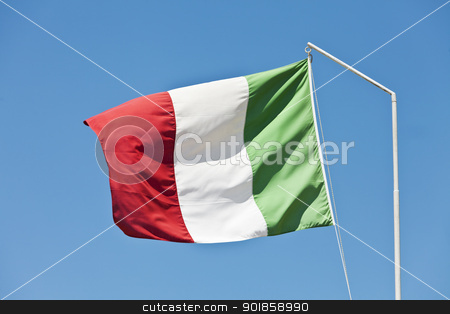 Italy flag stock photo, Flag of Italy towards blue sky by Anne-Louise Quarfoth