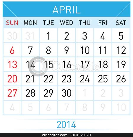 Calendar Month stock photo, April Twenty-Fourteen. Calendar Month. Illustration on white background by dvarg