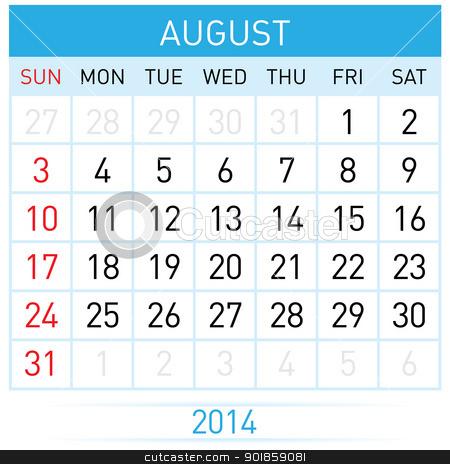 Calendar Month stock photo, August Twenty-Fourteen. Calendar Month. Illustration on white background by dvarg