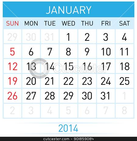 Calendar Month stock photo, January Twenty-Fourteen. Calendar Month. Illustration on white background by dvarg