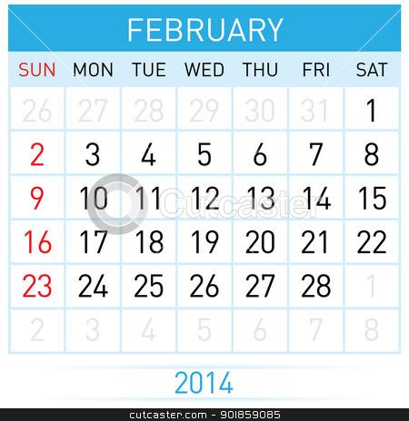 Calendar Month stock photo, February Twenty-Fourteen. Calendar Month. Illustration on white background by dvarg