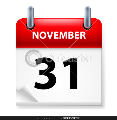 Calendar stock photo, Thirty-first November in Calendar icon on white background by dvarg
