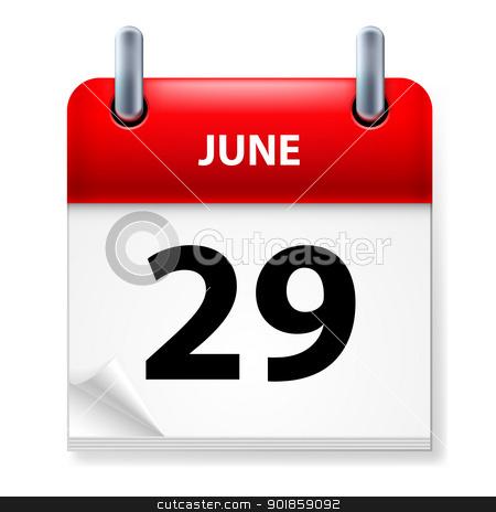 Calendar stock photo, Twenty-ninth June in Calendar icon on white background by dvarg