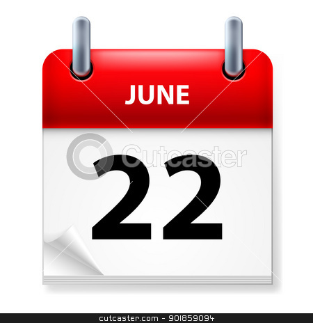 Calendar stock photo, Twenty-second June in Calendar icon on white background by dvarg