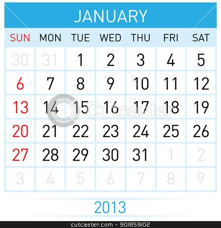 Calendar Month stock photo, January Twenty-thirteen. Calendar Month. Illustration on white background by dvarg