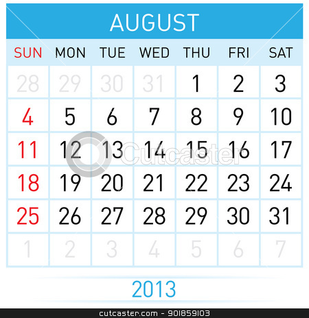 Calendar Month stock photo, August Twenty-thirteen. Calendar Month. Illustration on white background by dvarg