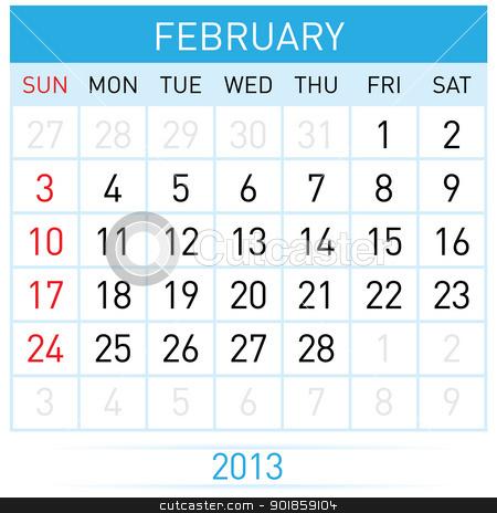 Calendar Month stock photo, February Twenty-thirteen. Calendar Month. Illustration on white background by dvarg