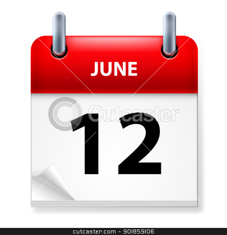 Calendar stock photo, Twelfth June in Calendar icon on white background by dvarg