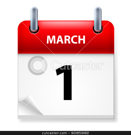 Calendar stock photo, First March in Calendar icon on white background by dvarg