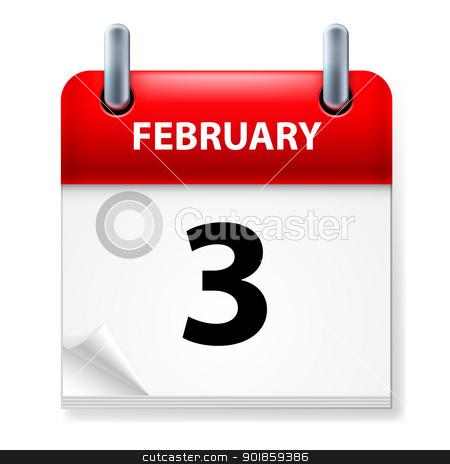 Calendar stock photo, Third February in Calendar icon on white background by dvarg