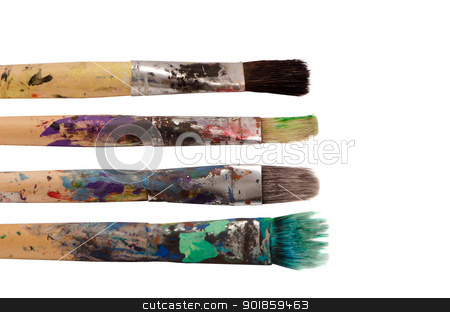 Dirty wooden paint brushes isolated on white  stock photo, Dirty wooden paint brushes isolated on white background. Art objects.  by sauletas