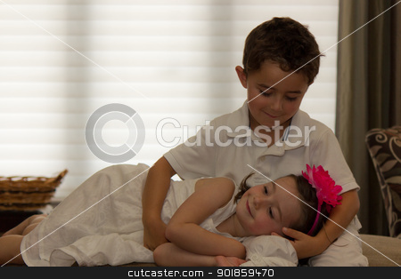 Beautiful, happy children posing stock photo, Beautiful, happy children posing.  Horizontal composition with copy space. by Click Images