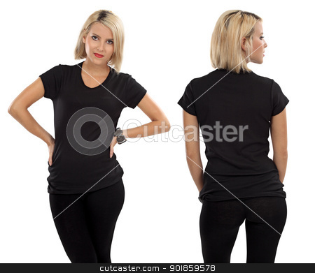 Blond woman with blank black shirt stock photo, Young beautiful blond female with blank black shirt, front and back. Ready for your design or artwork. by © Ron Sumners