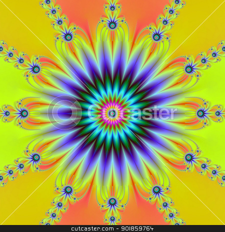 Rosette Flower stock photo, Computer generated digital image with a flower design in yellow, orange, blue and green. by Colin Forrest