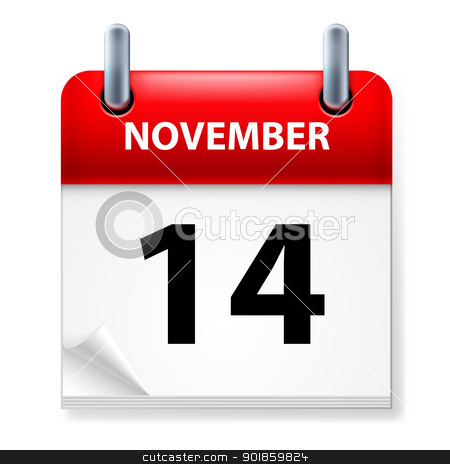 Calendar stock photo, Fourteenth in November Calendar icon on white background by dvarg
