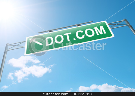 Information technology concept. stock photo, Illustration depicting a roadsign with an internet concept. Bright sunlight and blue sky background. by Samantha Craddock