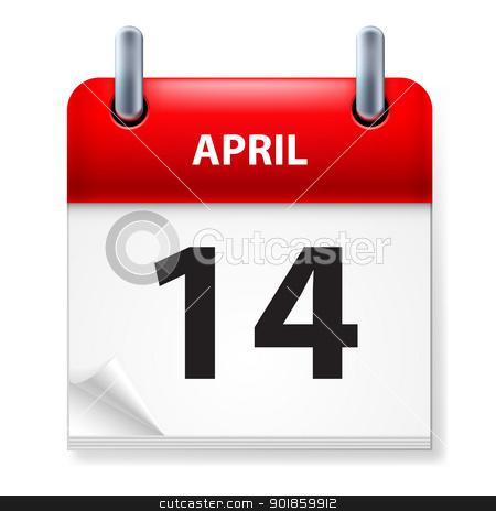 Calendar stock photo, Fourteenth in April Calendar icon on white background by dvarg