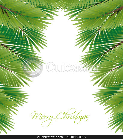Christmas tree stock vector clipart, branches in the shape of Christmas tree by Miroslava Hlavacova
