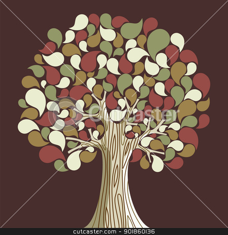Abstract autumn time tree stock vector clipart, Abstract autumn time floral tree. Vector illustration layered for easy manipulation and custom coloring. by Cienpies Design