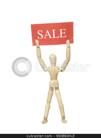 Doll with Sale Sign stock photo, Mannequin Doll with a Sale Sign on white background by Anne-Louise Quarfoth