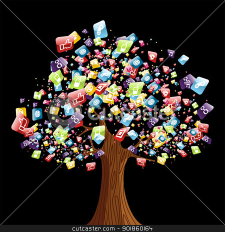Smart phone application tree stock vector clipart, Smart phone application icons tree. Vector illustration layered for easy manipulation and customisation. by Cienpies Design