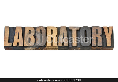 laboratory word in wood type stock photo, laboratory - isolated word in vintage letterpress wood type by Marek Uliasz