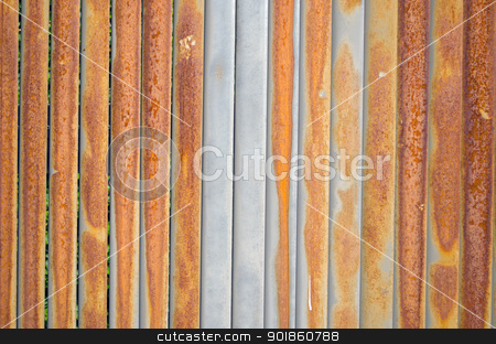 Background of rusty retro wall metal fence wall  stock photo, Background of rusty retro wall metal tin fence closeup.  by sauletas