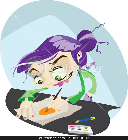 Illustrator stock vector clipart, A funky cartoon illustrator hard at work drawing and painting. Illustrator .eps v 10. by mojojojo