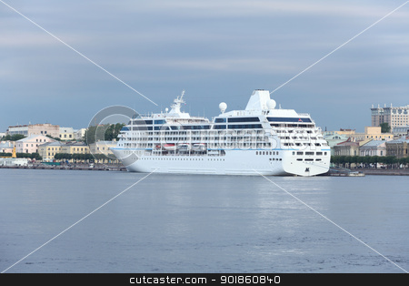 cruise ship  stock photo, cruise ship at the pier in the city by mrivserg