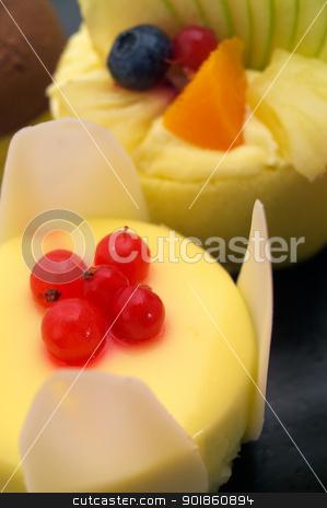 fresh currant  berry fruit cake stock photo, fresh currant berry fruit cream cake pastry closeup by Francesco Perre