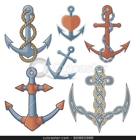 Anchors stock vector clipart, Set of six anchor icons isolated on white background. by fractal.gr