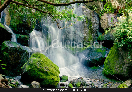 Tranquil Waterfall stock photo, Water flows with tranquility at the Minnesota Landscape Arboretum. by Ken Wolter