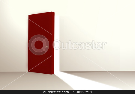Open door stock photo, Red door open letting in outside light by genialbaron