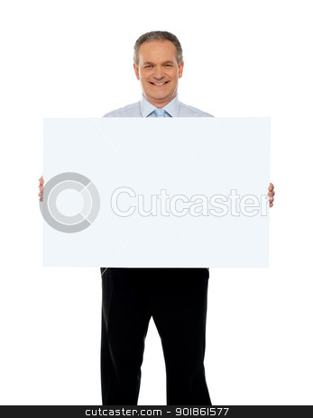 Experienced male representative with ad board stock photo, Experienced male representative with blank white ad board by Ishay Botbol