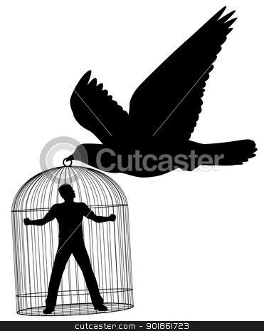 Carrier pigeon stock vector clipart, Editable vector silhouette of a pigeon or dove carrying a man in a cage by Robert Adrian Hillman