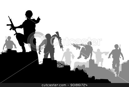 Combat troops stock vector clipart, Editable vector silhouettes of armed soldiers charging forward with each man as a separate object by Robert Adrian Hillman