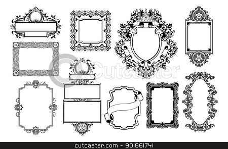 Graphic design decorative frames stock vector clipart, A set of decorative frame graphic design elements by Christos Georghiou