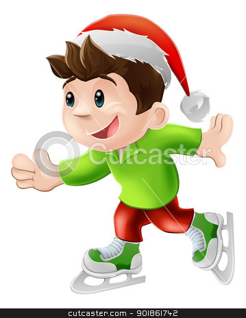 Christmas ice skater stock vector clipart, Cartoon illustration of a happy young man or boy having and ice skate in a Christmas Santa hat by Christos Georghiou