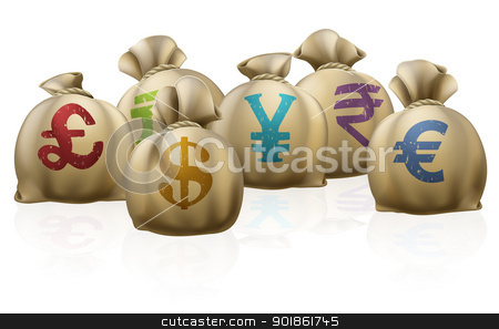 Money sacks stock vector clipart, Illustrations of lots of money sacks with currency symbols on them by Christos Georghiou