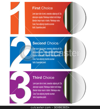 Choice labels/stickers stock vector clipart, Multicolored choices label for print, web and page layout design by Vladimir Repka