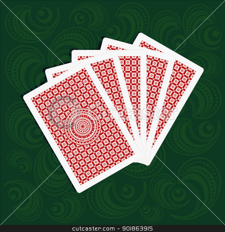 playing cards back sides on green background stock vector