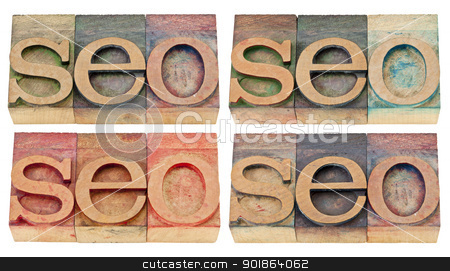 search engine optimization - seo abstract stock photo, seo abstract (search engine optimization) - isolated text in vintage letterpress wood type, four versions by Marek Uliasz