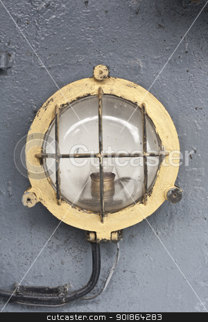 lamp in warship stock photo, lamp in warship, this is old warship in thailand by audfriday13