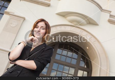 Young Pretty Businesswoman Outside in Front of City Hall stock photo, Proud Smiling Young Pretty Businesswoman Portrait Outside in Front of City Hall Building. by Andy Dean