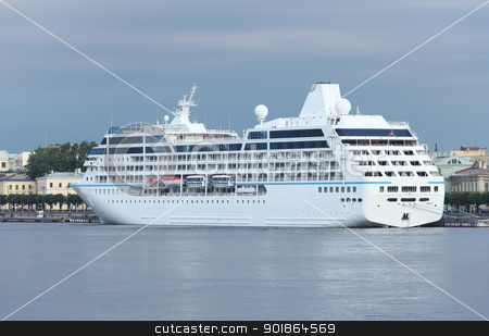 cruise ship stock photo, cruise ship at the pier early in the morning by mrivserg