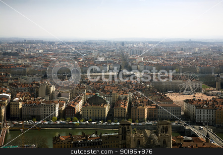 Lyon stock photo, A bird's eye view of the French city of Lyon with the city hall on place des Terreaux. by Abdul Sami Haqqani