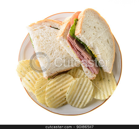 Sandwich stock photo, Bologna sandwich with potato chips, isolated on a white background. by Richard Nelson